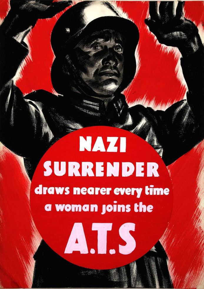Nazi Surrender Draws Nearer Every Time a Woman Joins the A.T.S Wartime Print.  (00916)